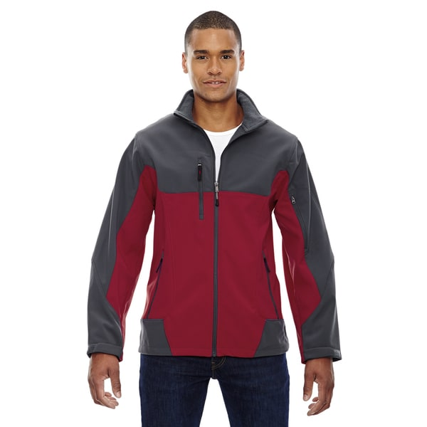 Compass Colorblock Three-Layer Fleece Bonded Soft Shell Men's Molten Red 751 Jacket