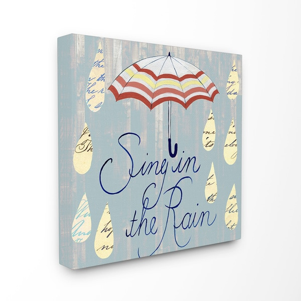 'Sing in the Rain Umbrella and Drops' Blue and Red Stretched-canvas Wall Art