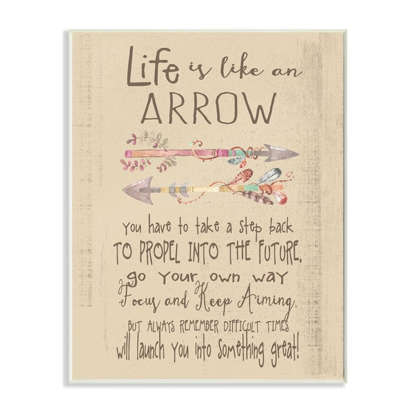 'Life is Like an Arrow' Icon Inspirational Typography Wall Plaque Art