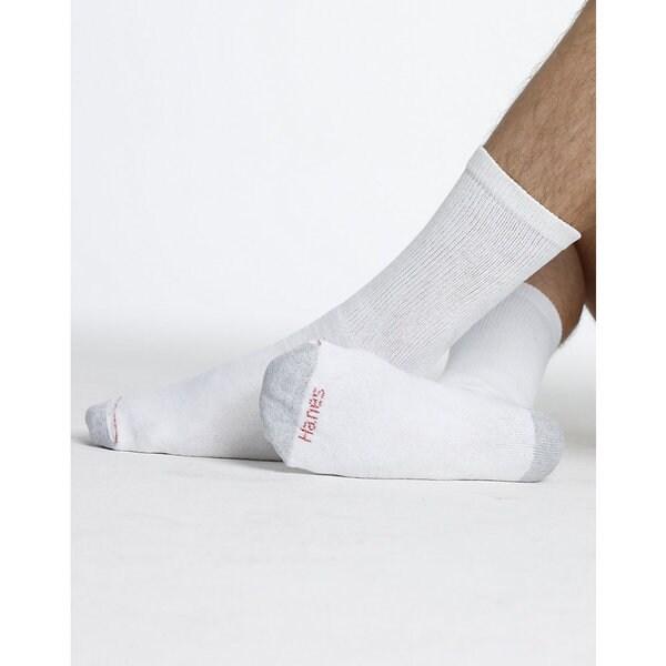Hanes Men's White Size 10-13 Crew Socks (Pack of 12)