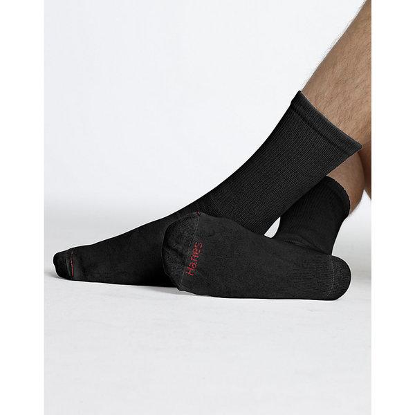 Hanes Men's Black Cotton/Polyester/Nylon Crew Socks (Pack of 12)