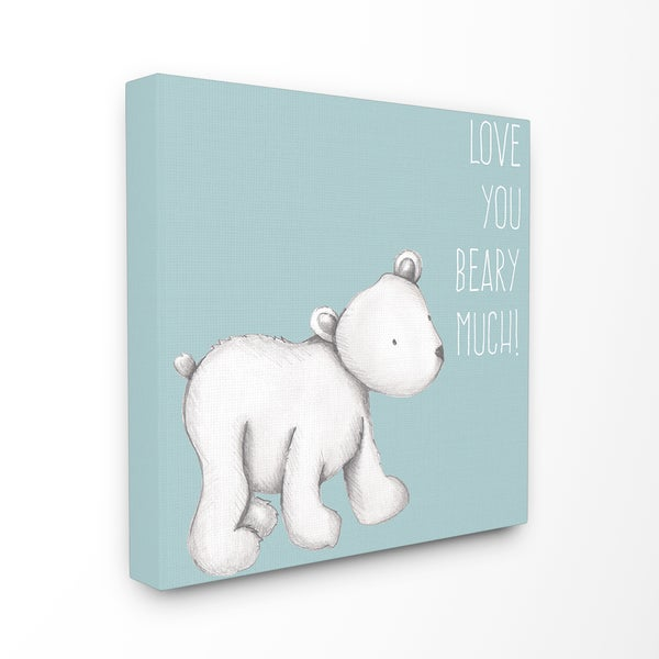 'Love You Beary Much!' Blue/White Stretched Canvas Polar Bear Wall Art