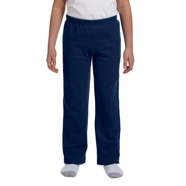Youth Navy Heavy-blend Polyester Open-bottom Sweatpants
