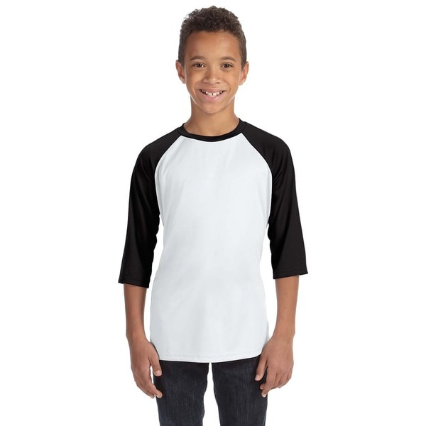 For Team 365 Youth White/Black Baseball T-shirt
