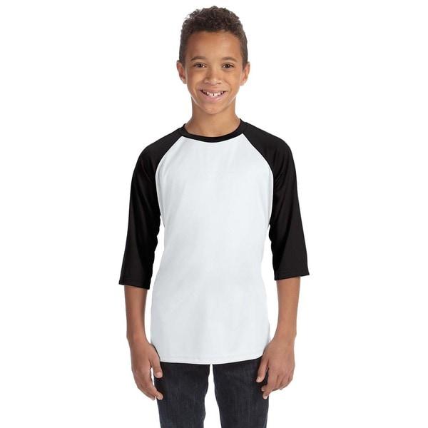 For Team 365 Youth White/Black Baseball T-shirt