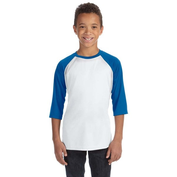 For Team 365 Boys' White/Sport Royal Blue Polyester Baseball T-shirt