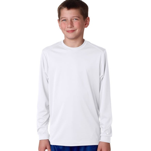 B-Core Boy's White Cotton-blend Long-Sleeve Performance T-Shirt