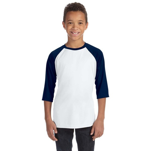 For Team 365 White/Sport Navy Youth Baseball T-Shirt