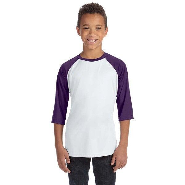 For Team 365 Youth White/Sport Purple Baseball T-shirt