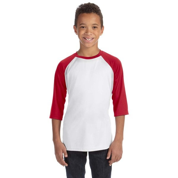 For Team 365 Boys' Sport Red/White Polyester Baseball T-shirt