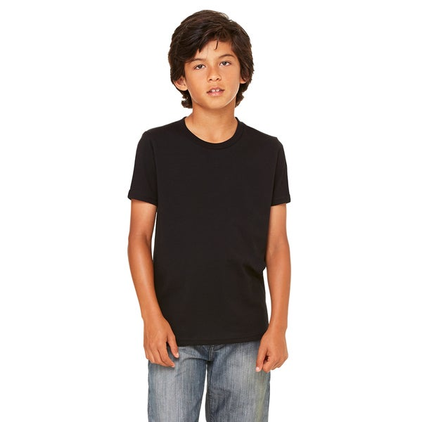 Boy's Black Cotton-blended Jersey Short-sleeved T-shirt