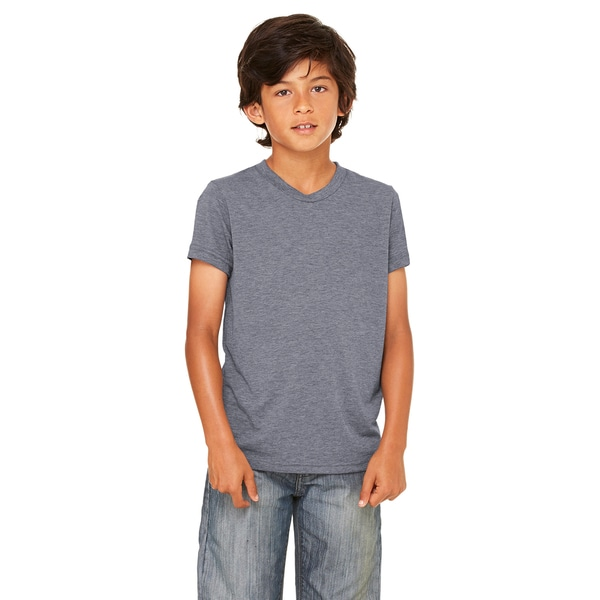 Jersey Youth Dark Grey Polyester and Cotton Short-Sleeved T-Shirt
