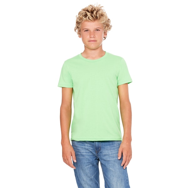 Jersey Youth Neon Green Polyester/Cotton Short-Sleeved T-shirt