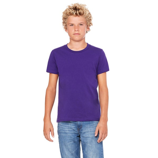 Jersey Youth Purple Polyester Short Sleeve T-shirt