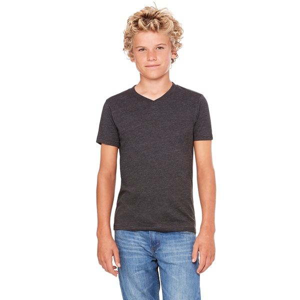 Dark Grey Heather Jersey Youth Short-sleeve V-neck T-shirt