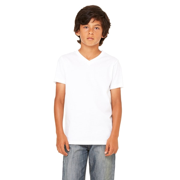 White Jersey Short-sleeve V-neck T-shirt