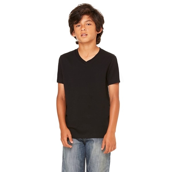 Boys' Black Cotton/Polyester Jersey Short-sleeve V-neck T-shirt