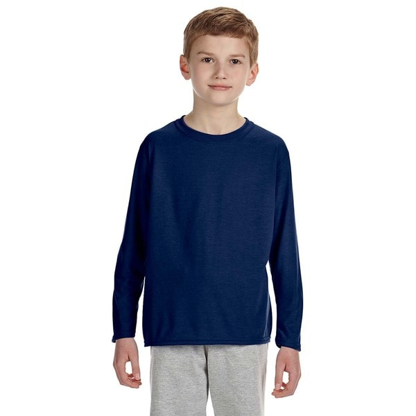 Gildan Youth Performance Navy Blue Polyester Long-sleeve T-shirt