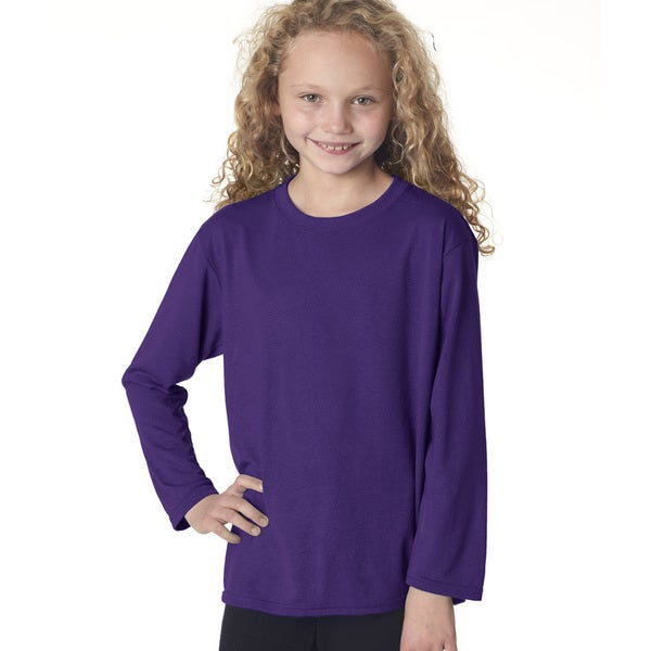 Gildan Youth Purple Long-sleeve Performance T-shirt