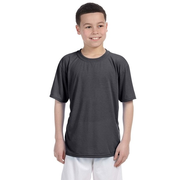 Gildan Boys' Charcoal Grey Polyester Performance T-shirt