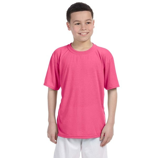 Gildan Youth Performance Pink Polyester T-shirt