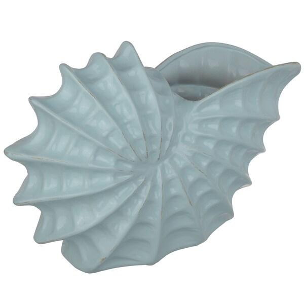 Marella Blue 15-inch x 5-inch x 9.5-inch Snail Shell Vase