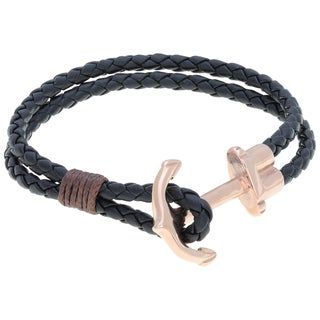 Black Leather Bracelet with Stainless Steel Anchor Clasp