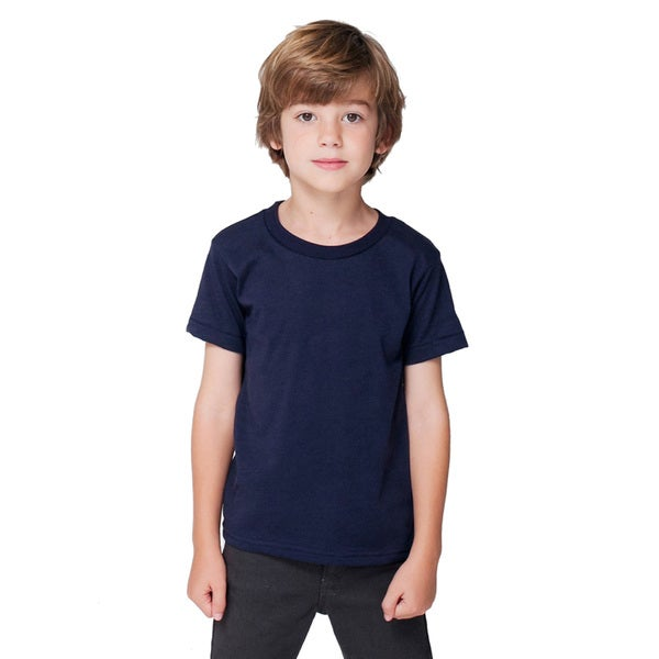 Boy's Navy Blue Poly-cotton Short-sleeved Crewneck T-shirt