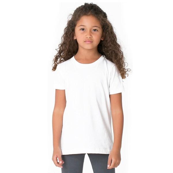American Apparel Girls' White Polyester/Cotton Short-sleeved Crewneck T-shirt 20487578