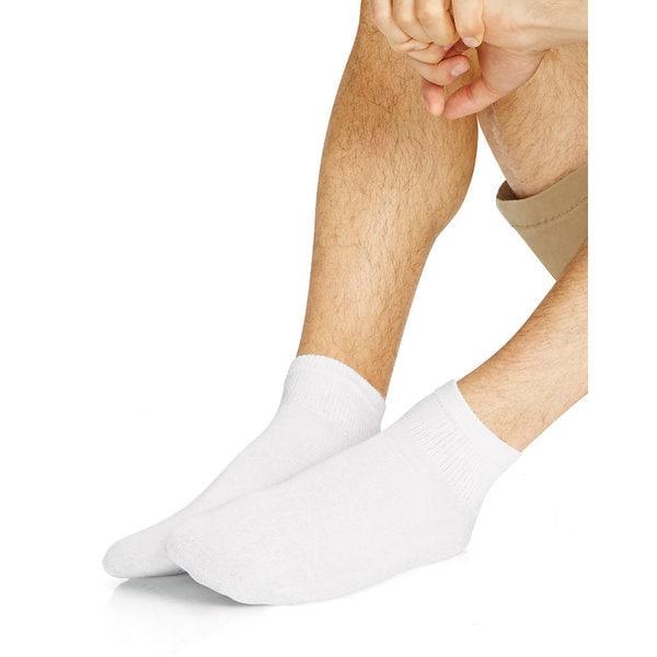 Hanes Men's White Big & Tall 12-14 Ankle Socks (Pack of 12)