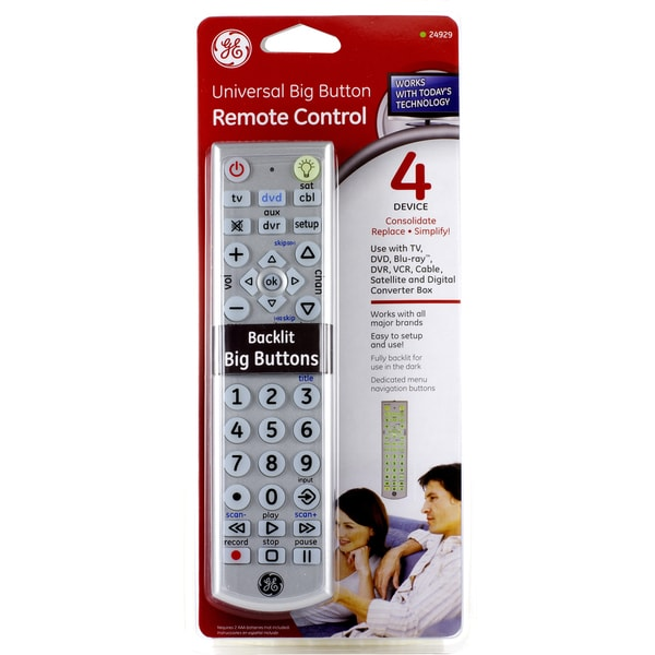 Jasco 24929 Universal Big Button Remote Control