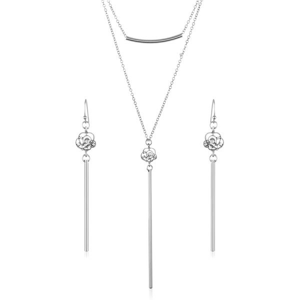 Crystal Heart Shape Rose Double Layer Bar Necklace and Earrings Jewelry Set