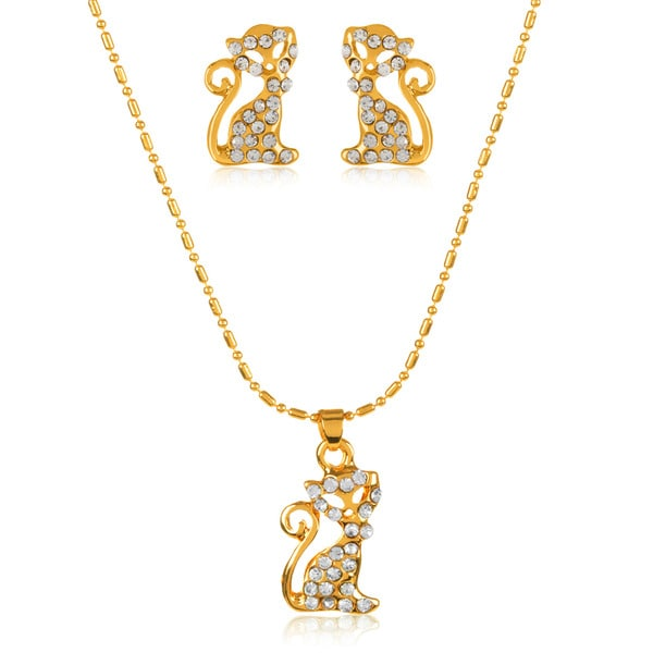 Gold Plated Crystal Cat Pendant Necklace and Stud Earrings Jewelry Set