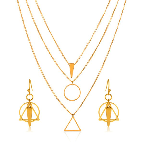 Gold Plated Geometric Charm Pendant Necklace and Earrings Jewelry Set