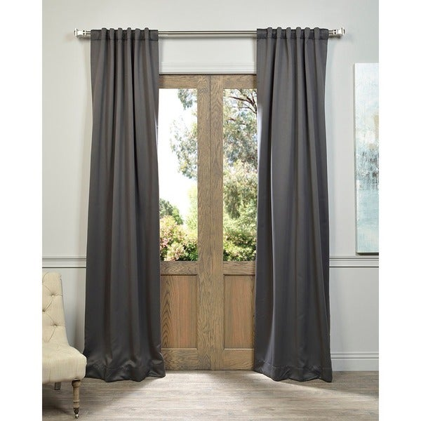 "Exclusive Fabrics Charcoal Rod Pocket and Back Tab Blackout Curtain Panel Pair 96""L (As Is Item)"