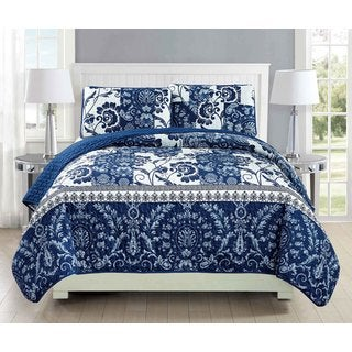Fashion Street Shanghai Quilted 3-piece Bedspread Set