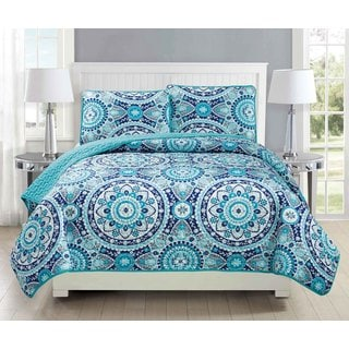Fashion Street Shangri La Quilted 3-piece Bedspread Set