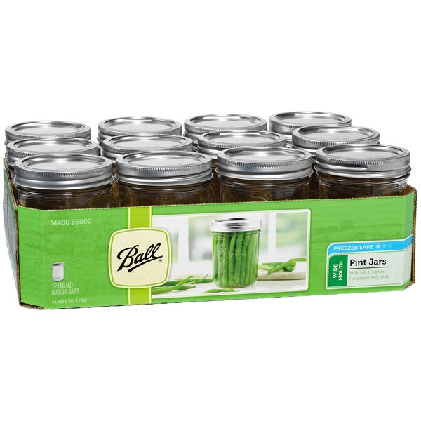 Ball 66000 1 Pint Wide Mouth Can Or Freeze Canning Jars 12-count