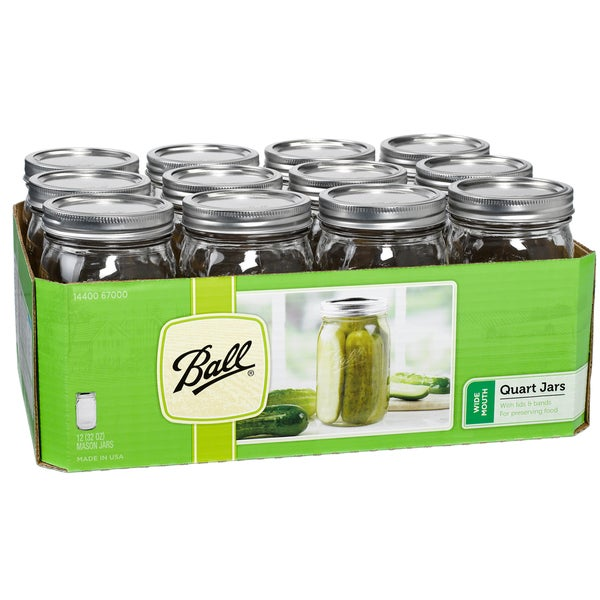 Ball 67000 1 Quart Wide Mouth Can Or Freeze Canning Jars 12-count