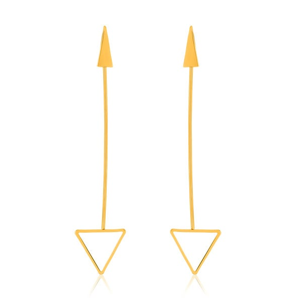 Gold Plated Polished Arrow Dangle Earrings