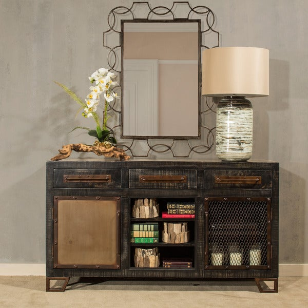 Hillsdale Furniture Sofa Table with Single Metal Door, Single Mesh Wire Door, and Wine Rack