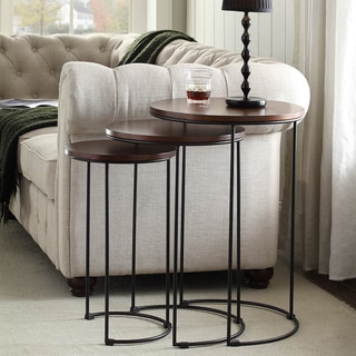 Carbon Loft Lamarr Metal and Wood Brown Round Nesting Table Set