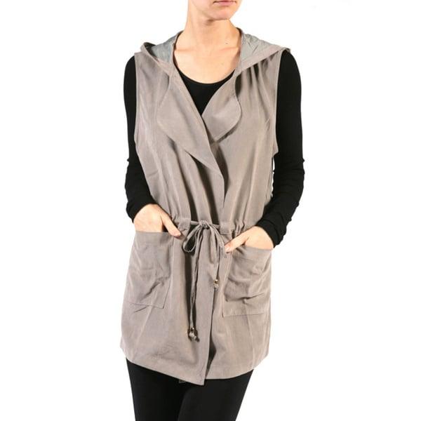 JED Women's Khaki Polyester and Nylon Drape Front Drawstring Waist Hooded Cardigan Vest