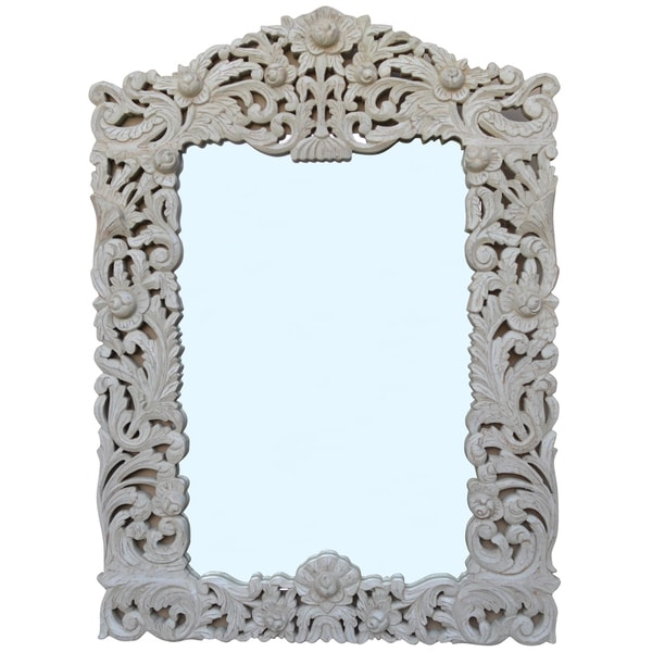 RAJ White Carved Wood Decorative Mirror 20521843
