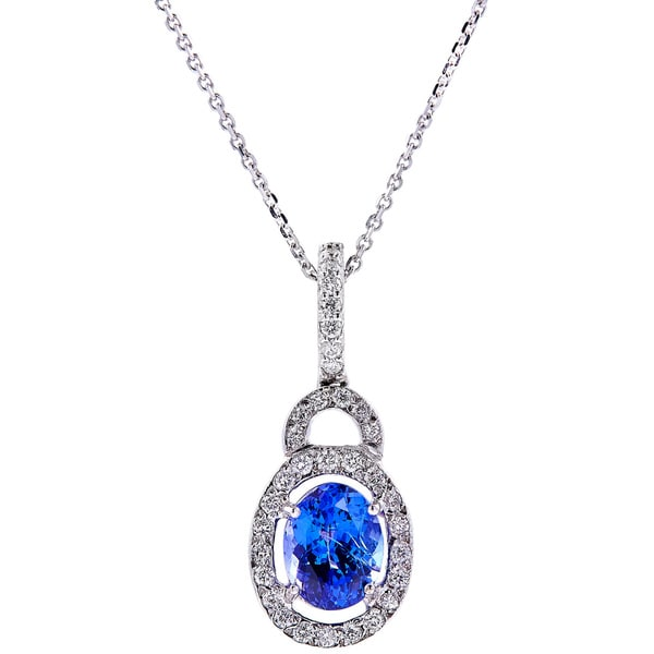 14kt White Gold Tanzanite Diamond Pendant