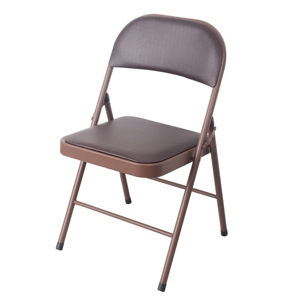 Brown Metal/PVC Cushioned Heavy-duty Chair