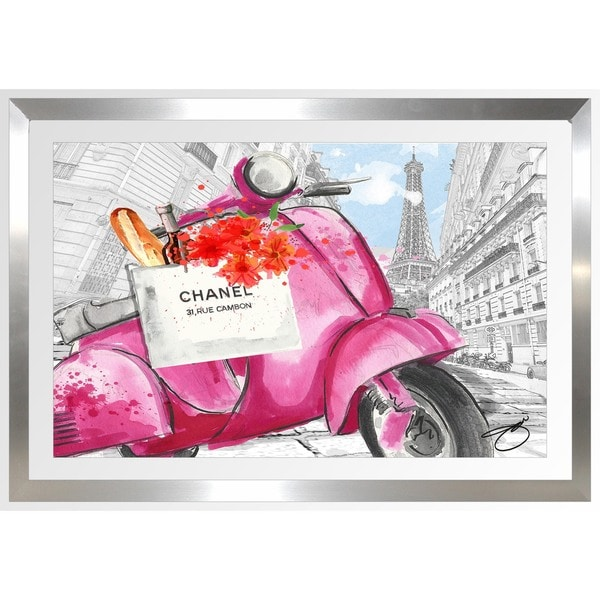 BY Jodi 'Scoot Around Paris In Pink 3' Framed Plexiglass Wall Art