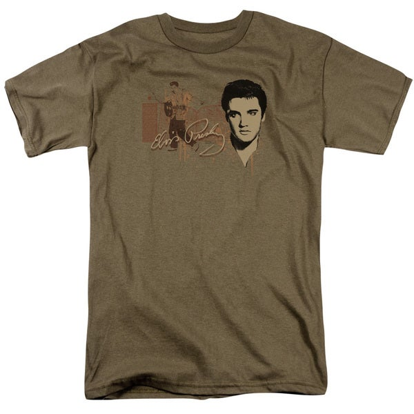 Elvis/At The Gates Short Sleeve Adult T-Shirt 18/1 in Safari Green