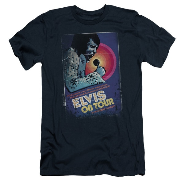 Elvis/On Tour Poster Short Sleeve Adult T-Shirt 30/1 in Navy