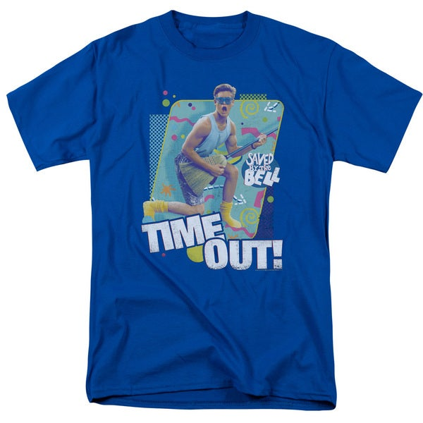 Saved By The Bell/Time Out Short Sleeve Adult T-Shirt 18/1 in Royal Blue